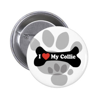 I Love My Collie - Dog Bone Pinback Buttons