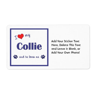 I Love My Collie (Male Dog) Shipping Label