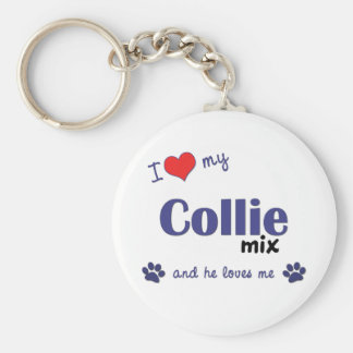 I Love My Collie Mix (Male Dog) Key Ring