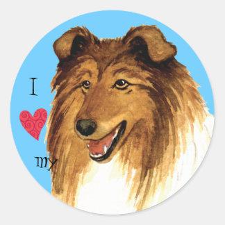 I Love my Collie Round Sticker