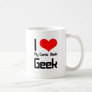I love my comic book geek basic white mug