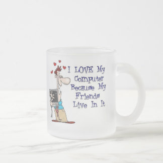I Love My Computer Frosted Glass Mug