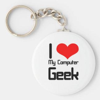 I love my computer geek basic round button key ring