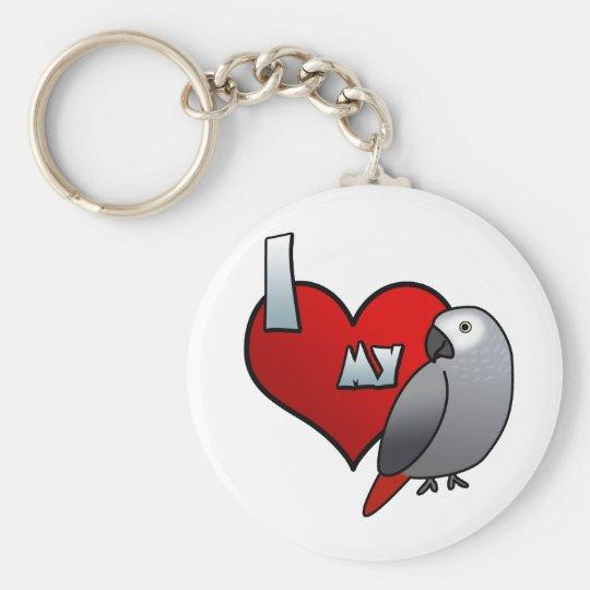 I Love my Congo African Grey Keychain