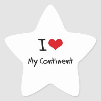 I love My Continent Star Stickers