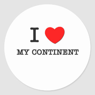 I Love My Continent Round Stickers