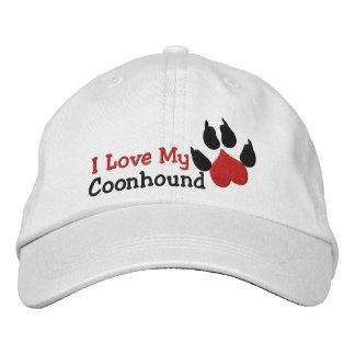 I Love My Coonhound Dog Paw Print Baseball Cap