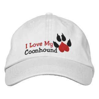 I Love My Coonhound Dog Paw Print Embroidered Hats