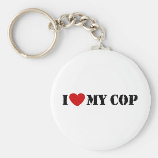 I Love My Cop Basic Round Button Key Ring