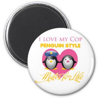 I Love My Cop Penguin Style 6 Cm Round Magnet