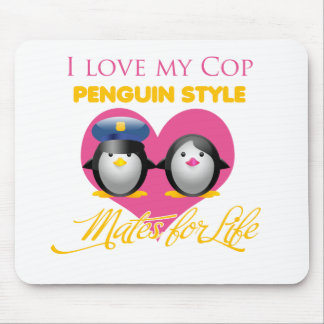 I Love My Cop Penguin Style Mouse Pad