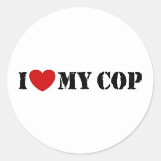 I Love My Cop Round Sticker