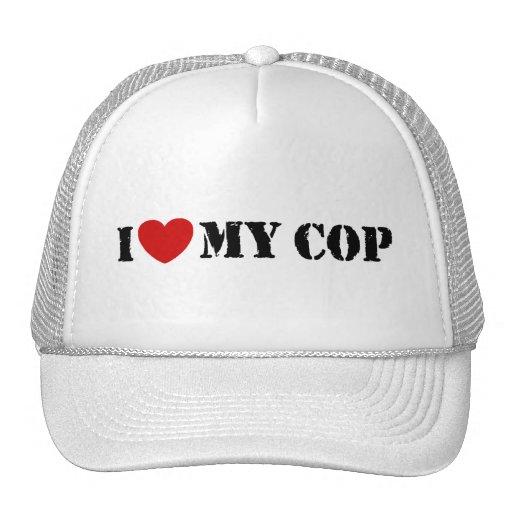 I Love My Cop Trucker Hats