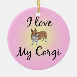 I Love My Corgi Christmas Ornament
