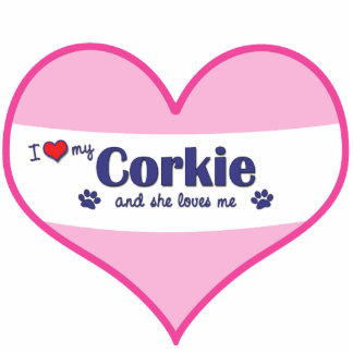 I Love My Corkie (Female Dog) Photo Sculpture Decoration