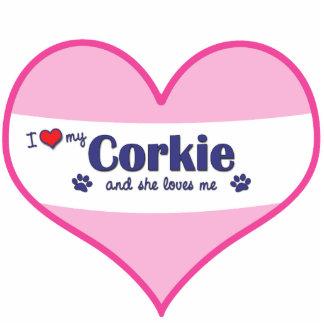 I Love My Corkie Female Dog Photo Sculptures
