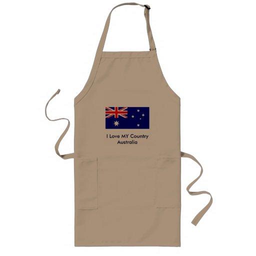 I Love MY Country Australia Flag Template Apron
