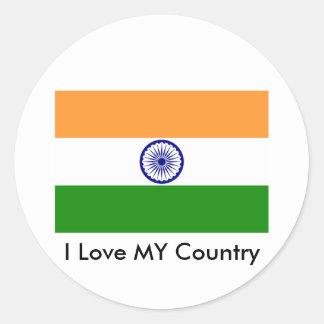 I Love MY Country India Round Sticker
