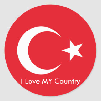 I Love MY Country Turkey Flag The MUSEUM Zazzle Round Sticker