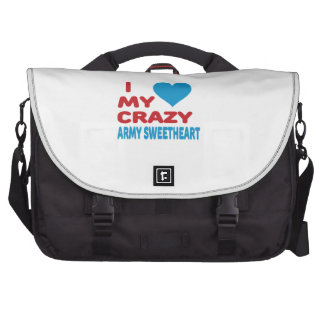 I Love My Crazy Army Sweetheart. Laptop Messenger Bag