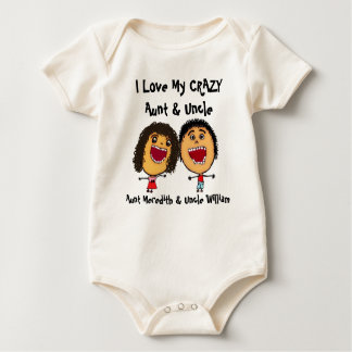 I Love My Crazy Aunt and Uncle Cartoon Baby Bodysuit
