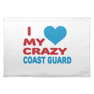 I Love My Crazy Coast Guard. Cloth Placemat