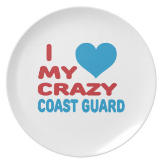I Love My Crazy Coast Guard. Party Plate