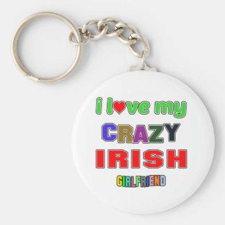 I love my crazy Irish Girlfriend Basic Round Button Key Ring