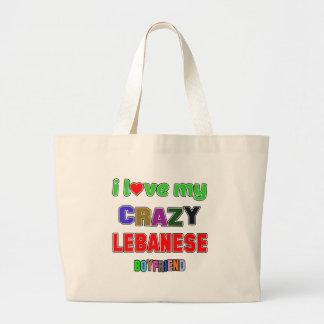 I love my crazy Lebanese Boyfriend Jumbo Tote Bag