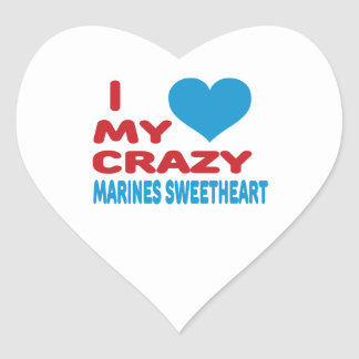 I Love My Crazy Marines Sweetheart. Heart Stickers