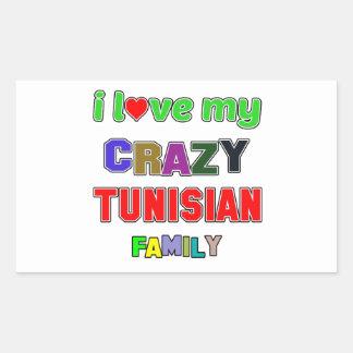 I love my crazy Tunisian Family Rectangular Sticker