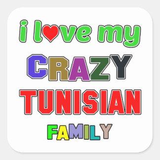 I love my crazy Tunisian Family Square Sticker