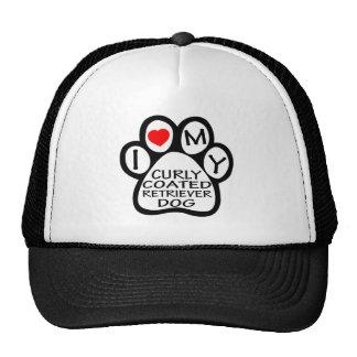 I Love My Curly-Coated Retriever Dog Hats
