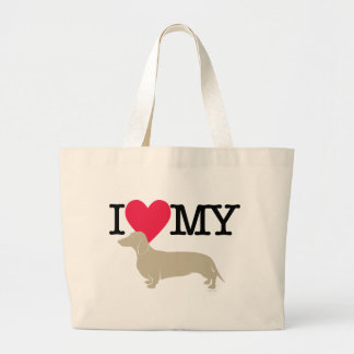 I Love My Dachshund Canvas Bag
