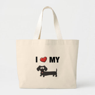 I love my dachshund (black) large tote bag