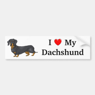 I Love My Dachshund Bumper Sticker