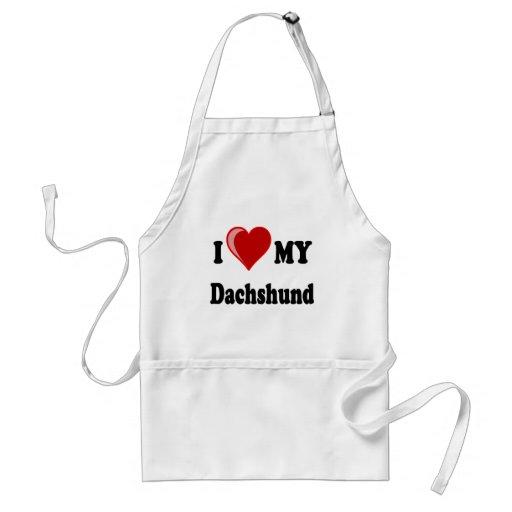 I Love My Dachshund Dog Gifts & Apparel Aprons