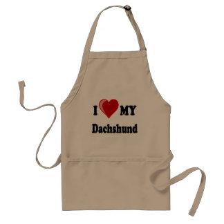 I Love My Dachshund Dog Gifts & Apparel Adult Apron