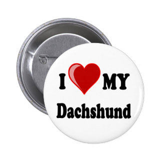 I Love My Dachshund Dog Gifts Apparel Pin