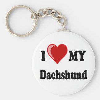 I Love My Dachshund Dog Gifts & Apparel Basic Round Button Key Ring