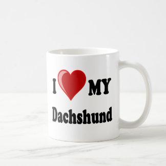 I Love My Dachshund Dog Gifts & Apparel Basic White Mug