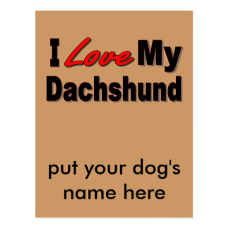 I Love My Dachshund Dog Gifts & Apparel Postcard