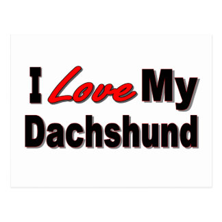 I Love My Dachshund Dog Gifts & Apparel Postcard