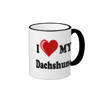 I Love My Dachshund Dog Gifts & Apparel Ringer Mug