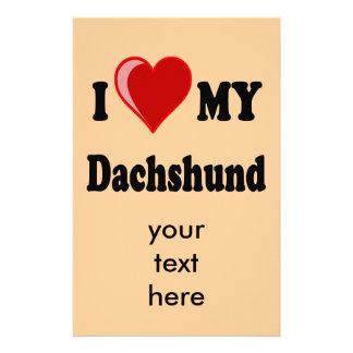 I Love My Dachshund Dog Gifts & Apparel Stationery