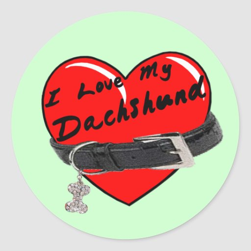 I Love My Dachshund Heart with Dog Collar Stickers