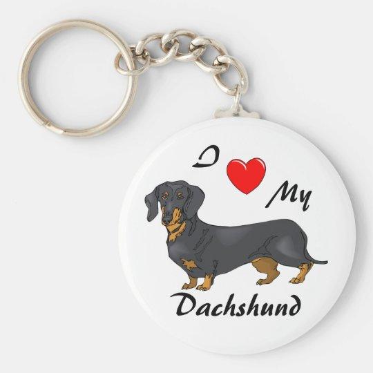 I Love My Dachshund Keychain