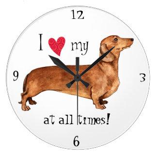 I love my Dachshund Large Clock