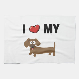 I love my dachshund tea towel