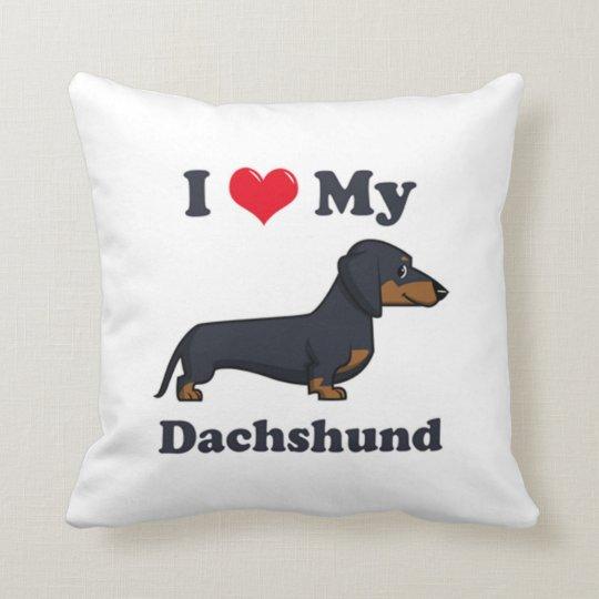 I Love My Dachshund Throw Pillow